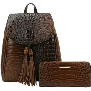 Handbags - Alligator Convertible Mini Backpack & Wallet Set